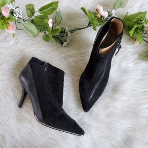 L.A.M.B. Black Leather Ankle Booties